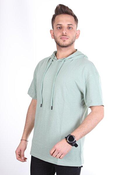 TREND YAŞAR Erkek Su Yeşili Kapüşonlu Oversize T-shirt