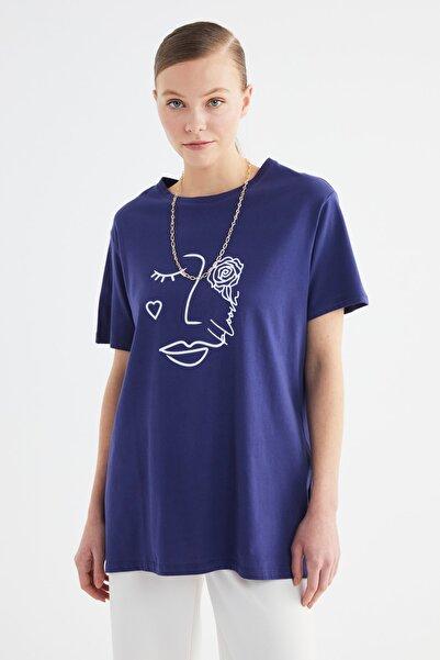 Trendyol Modest Lacivert Baskılı Kısa Kollu Örme Tesettür T-shirt TCTSS21TN0272