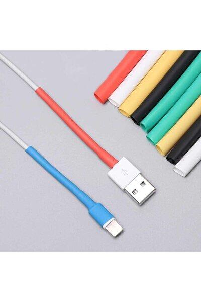 RAVANELLI Iphone Şarj Kablo Koruyucu Renkli 12 Adet Isıyla Daralan Makaron Orijinal Apple Lightning
