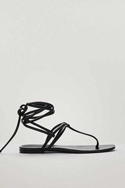 Massimo Dutti Kadın Bağcıklı Düz Deri Sandalet 11768850