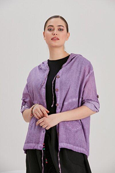 Y-London Kadın Lila Koton Kapüşonlu Ceket YL-CE99932