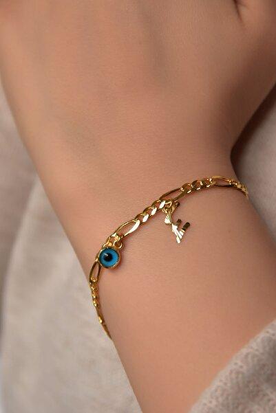 Papatya Silver 925 Ayar Gümüş Altın Kaplama Figaro Zincirli Harf Cam Göz Kadın Bileklik