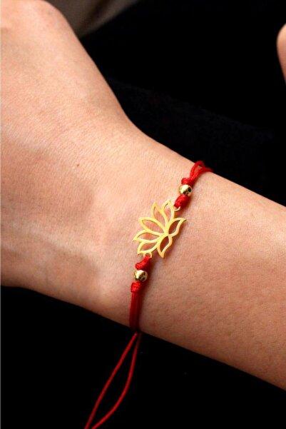 dalmarkt Kadın Kırmızı Lotus Rose Kaplama Bileklik 925 Ayar