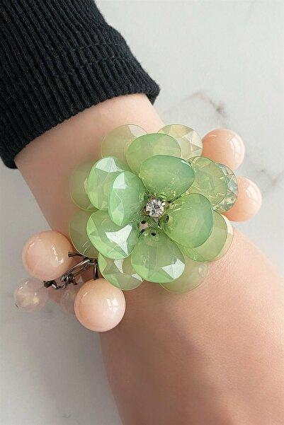 TAKIŞTIR Kadın Yeşil Çiçek Figürlü Bileklik