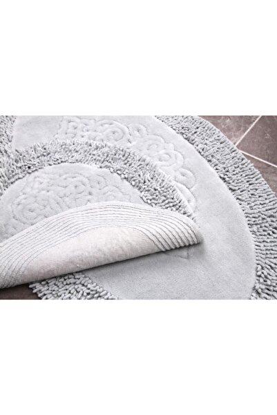 NEWJEROX Cotton Special 2'li Osmanlı Desen Pamuklu Klozet Takımı Oval Gri