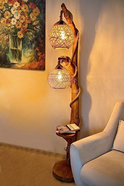 Cosargroup Kahverengi Doğal Ağaç Yalıkavak Serisi Çift Küre Aydınlatma Lambader 140cm