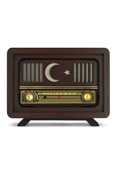 Otantik Çarşı Ahşap Nostaljik Radyo Ay Yıldız Model Şajlı Pil+adaptörlü