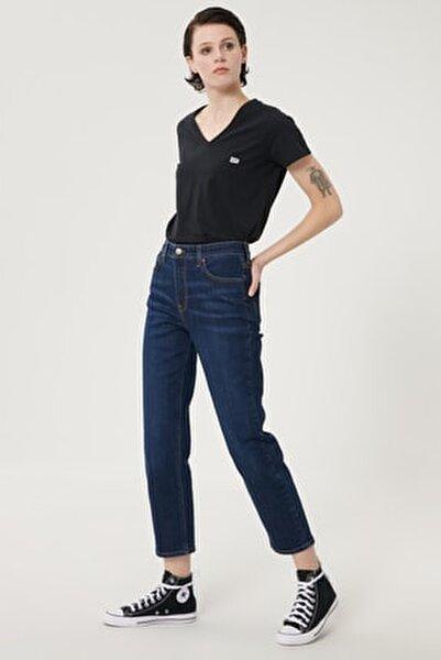 Kadın Koyu Mavi Carol Straight Fit Denim Esnek Jean Kot Pantolon