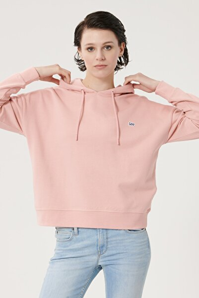 Lee Kadın Pembe %100 Pamuk Kapüşonlu Sweatshirt