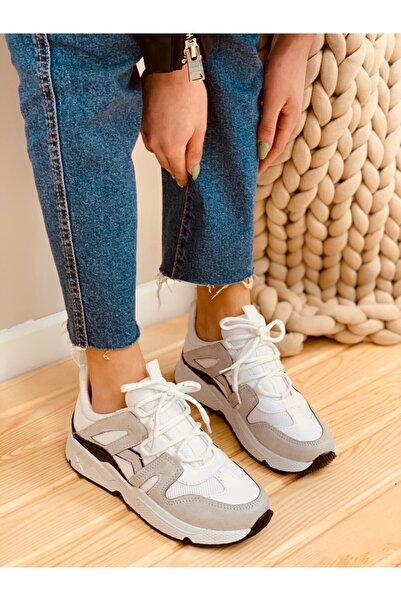 ERVANIN BUTİĞİ Kadın Beyaz Füme Sneakers