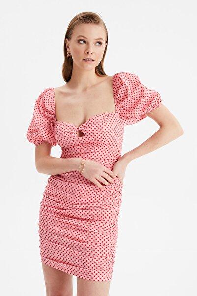 TRENDYOLMİLLA Çok Renkli Drapeli Elbise TPRSS21EL3376