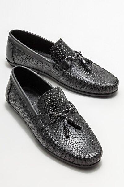 Elle Shoes Erkek Siyah Deri Püskül Detaylı Loafer Ayakkabı