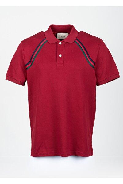 Gucci Erkek Kırmızı Pamuklu Polo Yaka T-Shirt