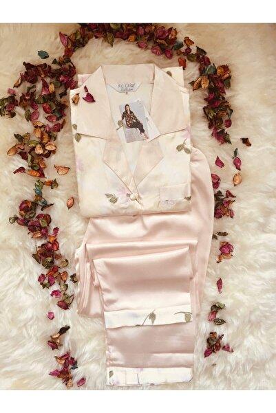Al Lady Çiçekli Gömlek Yaka Saten Kadın Pijama Takımı S104
