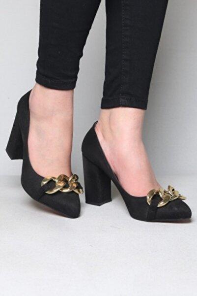 ramiye Kadın Zincirli Kalın Topuk Stiletto Siyah Süet