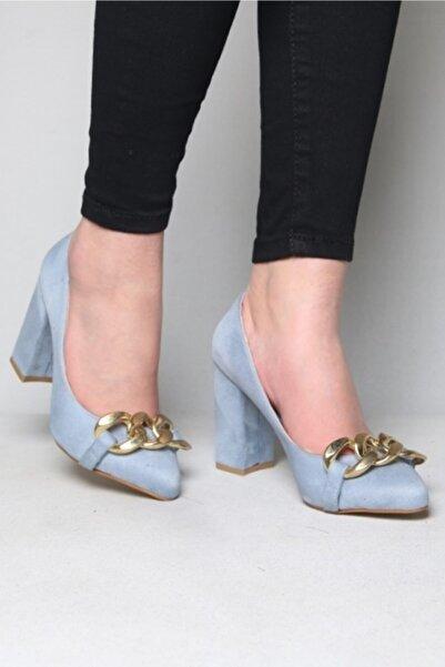 ramiye Kadın Zincirli Kalın Topuk Stiletto Mavi Süet