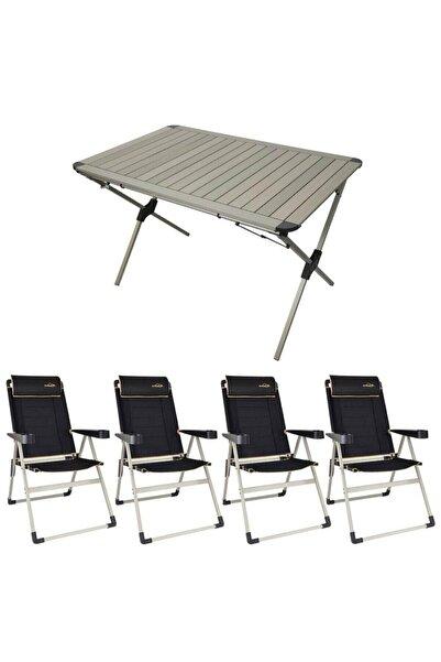 NURGAZ Campout Alüminyum Kamp Masa Sandalye Seti Xxl-1 Siyah