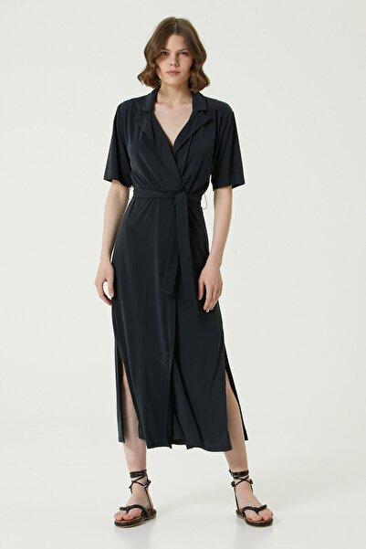 Network Kadın Slim Fit Siyah Kelebek Yaka Midi Elbise 1078778