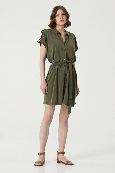 Network Kadın Slim Fit Haki İngiliz Yaka Mini Elbise 1078777