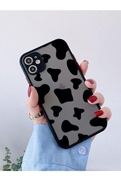 mooodcase Iphone 11 Siyah Kamera Lens Korumalı Inek Desenli Lüx Telefon Kılıfı