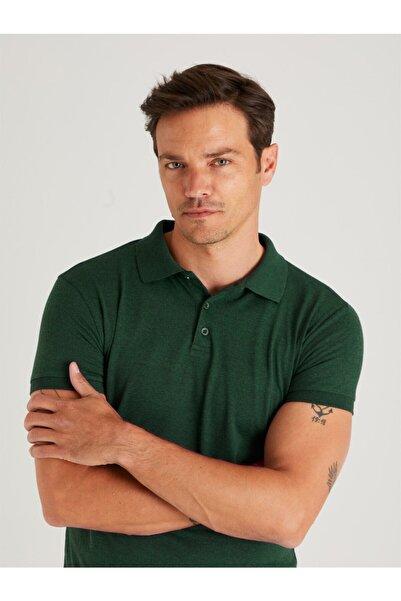 Dufy Zümrüt Yeşili Polo Yaka Erkek Tshırt - Slım Fıt