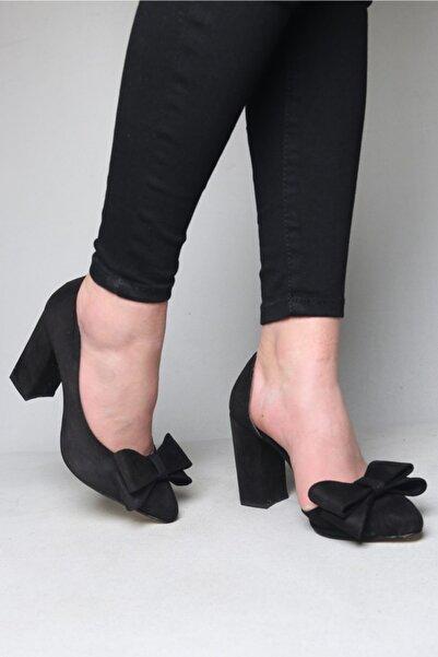 ramiye Kadın  Siyah Süet Fiyonklu Kalın Topuk Stiletto