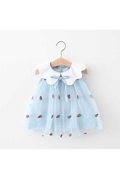 Little Honey Bunnies Mavi Çilek Desenli Tül Elbise