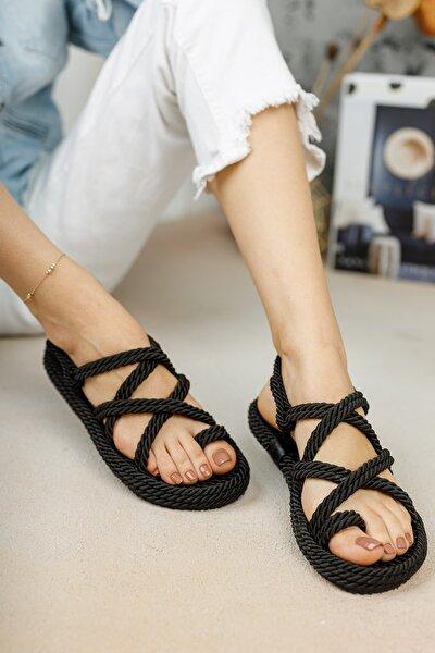 meyra'nın ayakkabıları Halat Sandalet Siyah