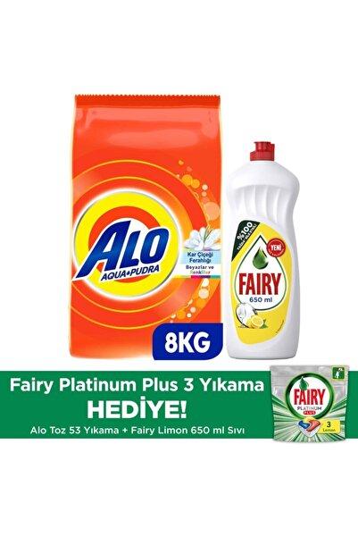 Alo 8 kg Toz Çamaşır Deterjanı Beyazlar Ve Renkliler + Fairy 650 ml Sıvı + Fairy Platinum Plus 3