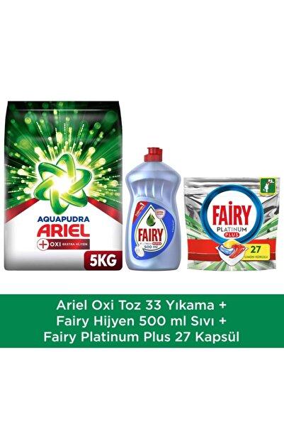 Ariel Oxi Power 5 Kg Toz Çamaşır Deterjanı + Fairy Platinum Plus 27 Yıkama Kapsül + Hijyen 500 ml