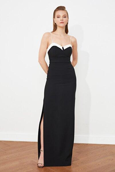 TRENDYOLMİLLA Siyah Yaka Detaylı Abiye & Mezuniyet Elbisesi TPRSS21AE0064
