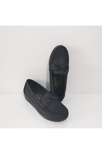 Annamaria Gezer Ortopedik Fiyonklu Dolgu Topuk Bayan Ayakkabı Siyah
