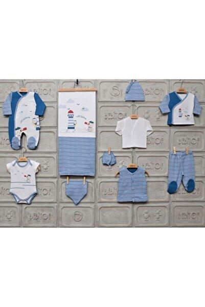 Bebitof Erkek Bebek Beyaz Lacivert 10'lu Hastane Çıkış Seti