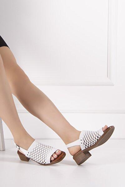 Venüs Kadın Beyaz Hakiki Deri Sandalet