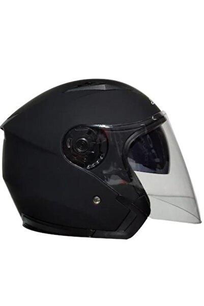 VENOM Jk-512 Yarım Yazlık Motosiklet Kaskı Güneş Vizörlü Mat Siyah