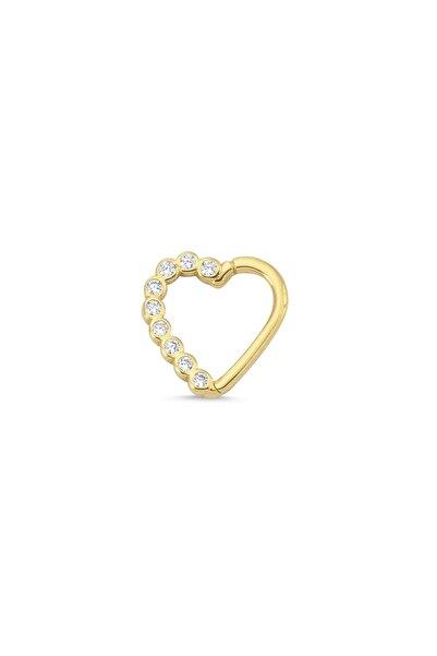 Altın Sepeti Kadın Sarı Altın Kalp Taşlı Helix Piercing