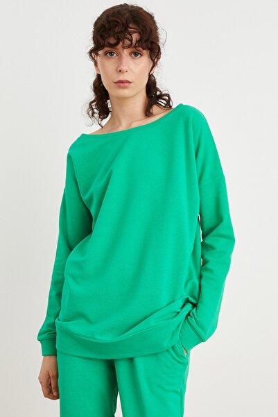 Love My Body Kadın Yeşil Uzun Kol Oversize Sweatshirt 187L7875000