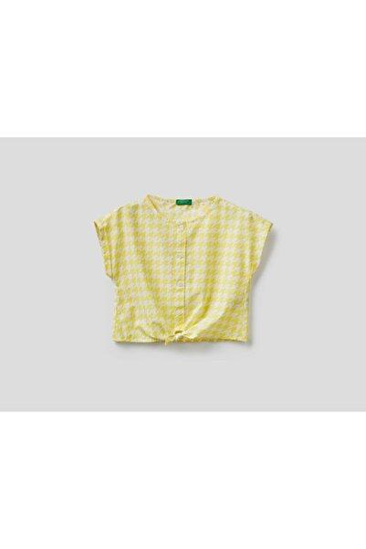 United Colors of Benetton Kız Çocuk Açık Sarı Belden Bağlamalı Crop Gömlek