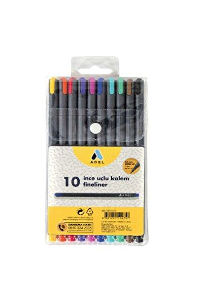 Adel Fineliner İnce Uçlu 0.4 mm 10 Renk Kalem