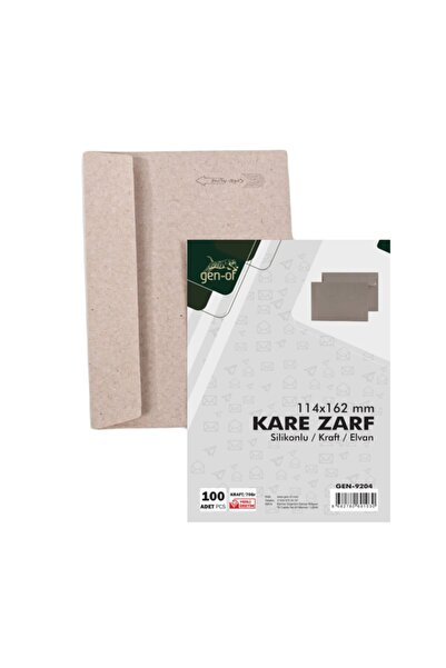 Gen-Of Kraft Kare Mektup Zarfı 114x162 mm 70 gr Silikonlu 500'lü