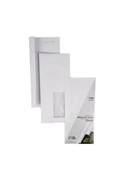 Gen-Of Pencereli Diplomat Zarf Silikonlu 105x240 Mm 110 Gr 500 Lü Beyaz