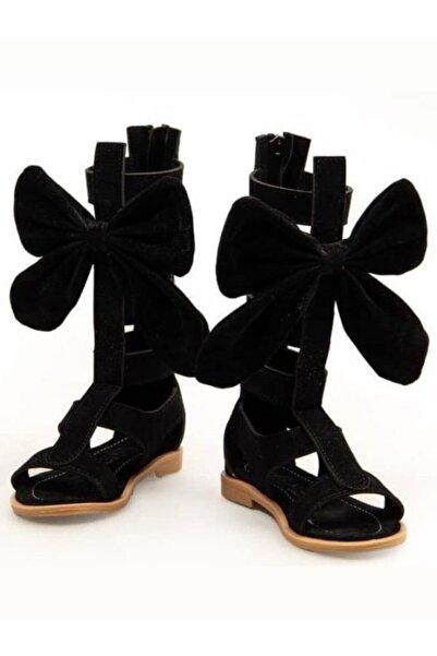 Riccotarz Kız Çocuk Gladyatör Siyah Sandalet Ayakkabı