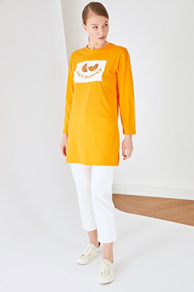 Trendyol Modest Turuncu Baskılı Uzun Kollu Süprem Örme Tesettür T-Shirt TCTSS21TN0217