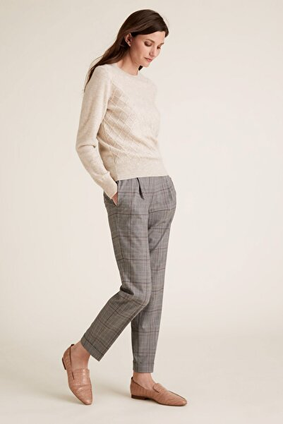 Marks & Spencer Kadın Gri Ekose Tapered Pantolon