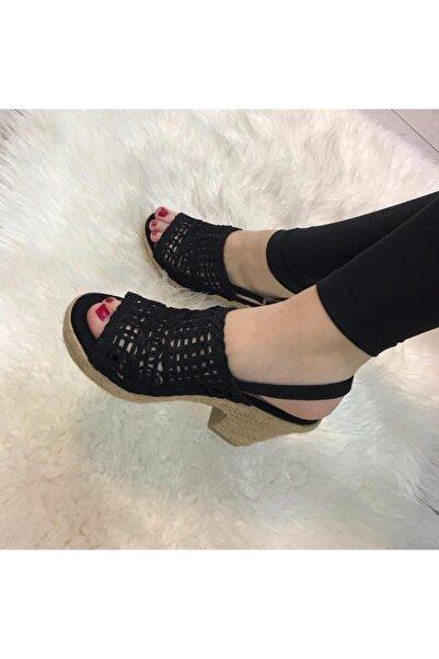Guja Kadın Siyah Platform Taban Yazlık Keten Örgü Topuk Sandalet Ayakkabı 20y241