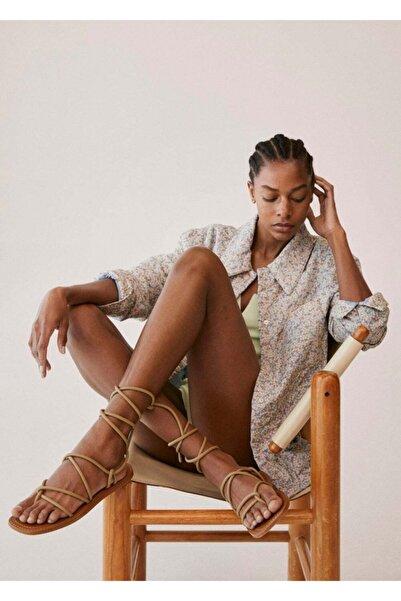 MANGO Woman Kadın Yeşil Sandalet