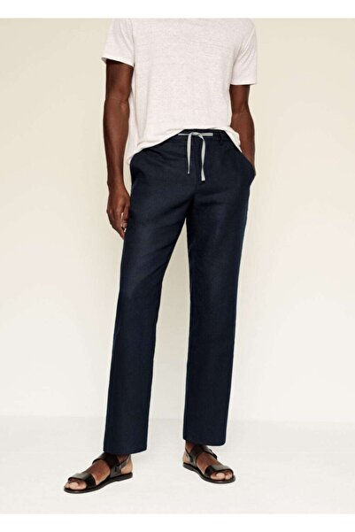 MANGO Man Erkek Lacivert Relaxed Keten Pantolon