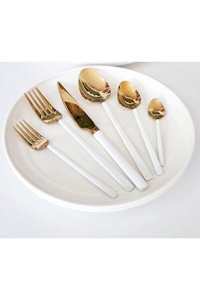 SILA 36 Parça Beyaz Gold Çatal Kaşık Bıçak Seti Kutulu