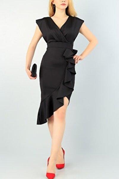 Yırtmaç Ve Volan Detay Siyah Abiye Elbise Siyah Nişan Elbisesi 64473 095