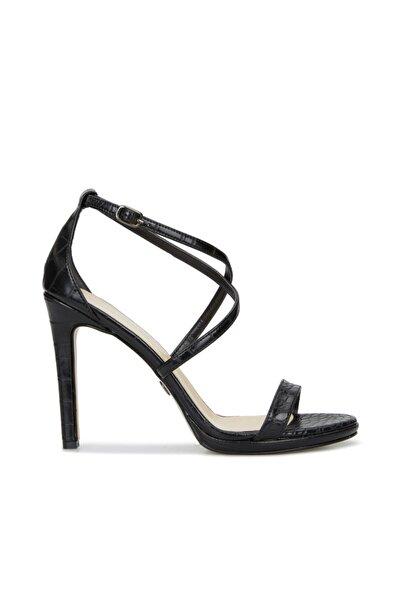 Dıvarese Kadın Siyah Krokodil Dokulu Sandalet